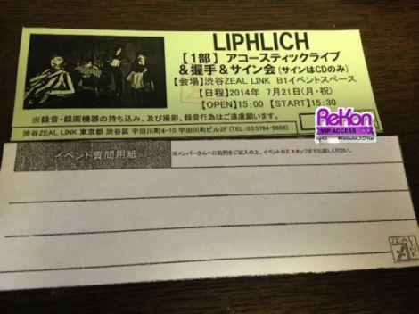 Contoh tiket instore LIPHLICH dan kertas tempat menuliskan pesan bagi mereka.